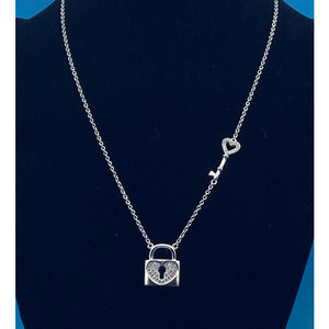 """Silver Heart Lock and Key Necklace - 16"""""""